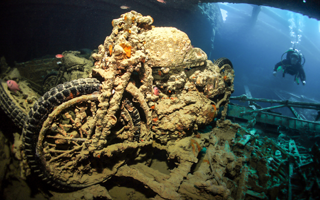 Motorcycle on SS Thistlegorm in Red Sea, Egypt
